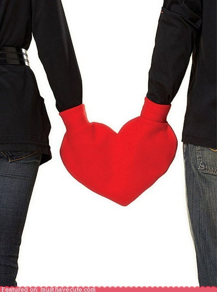 couple heart hold hands mitten red romance smitten Valentines day