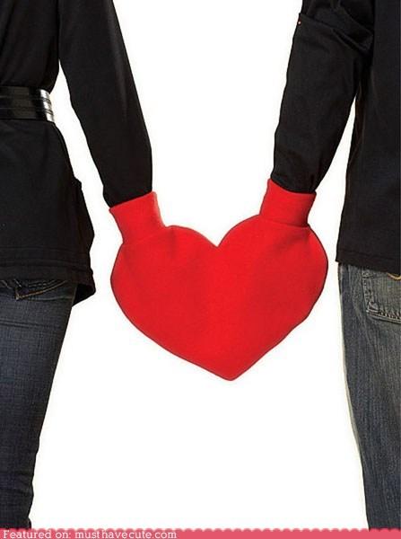 couple heart hold hands mitten red romance smitten Valentines day - 5682511872