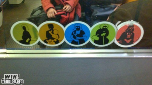 bus,darth vader,disabled,hacked irl,nerdgasm,public transportation,star wars,sticker,Subway