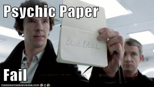 bbc FAIL Martin Freeman psychic paper sherlock bbc sherlock-bennedict-cumber-batch Watson - 5684610816