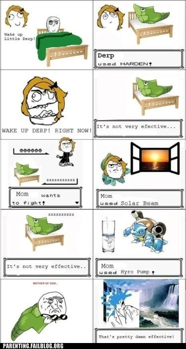 mother Parenting Fail Pokémon rage comic sleep super effective wake-up call - 5684705792