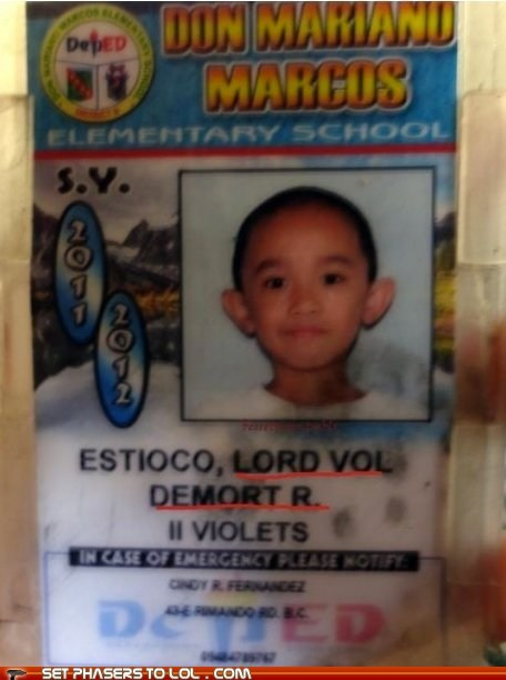 elementary school id kid Lord Voldemort name school