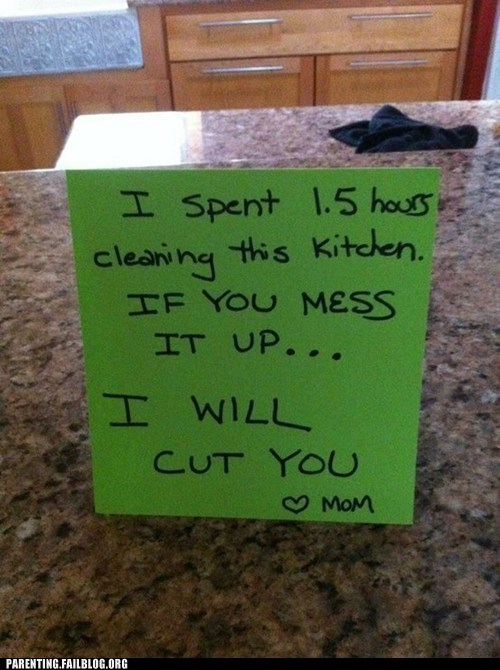 g rated mom note parenting Parenting Fail passive aggressive prison punishment scary shank threat - 5684712704
