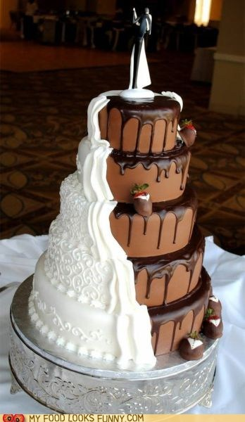 cake chocolate compromise marriage teamwork vanilla wedding
