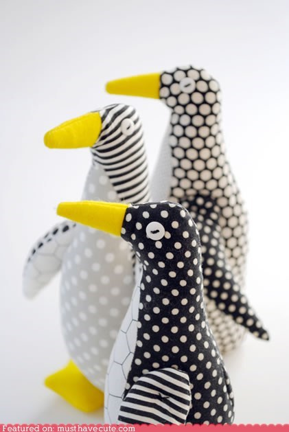 craft DIY fabric pattern penguin sew