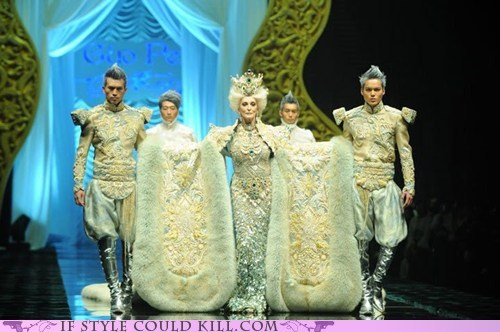 bathmats,brocade,gown,ornate,runway