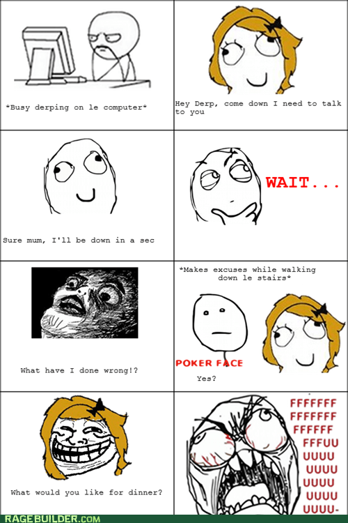 dinner mom poker face Rage Comics raisin face talk - 5685042944