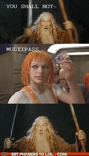 gandalf ian mckellan leeloo Lord of the Rings milla jovovich multipass you shall not pass