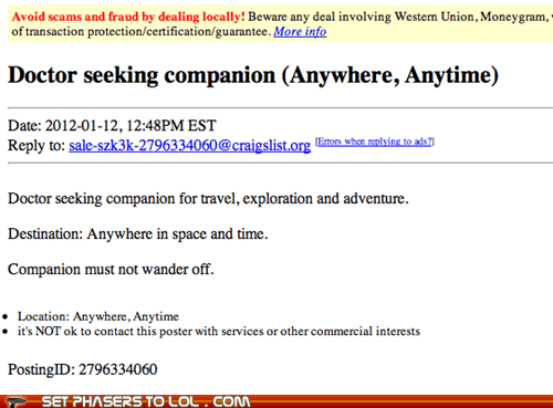Ad companion craigslist doctor who M4W seeking space the doctor time - 5685298688