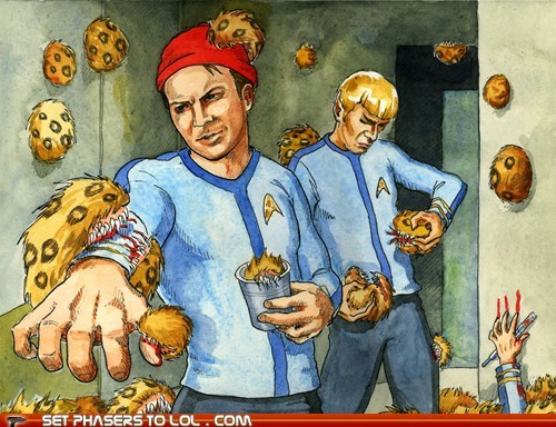 art Captain Kirk Spock Star Trek the life aquatic tribbles trouble Wes Anderson - 5685314816
