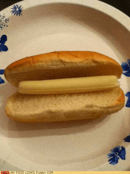 bread,bun,cheese,hot dog,hot dog bun,string cheese