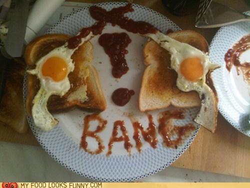 bang breakfast eggs guns ketchup meal toast - 5685643008