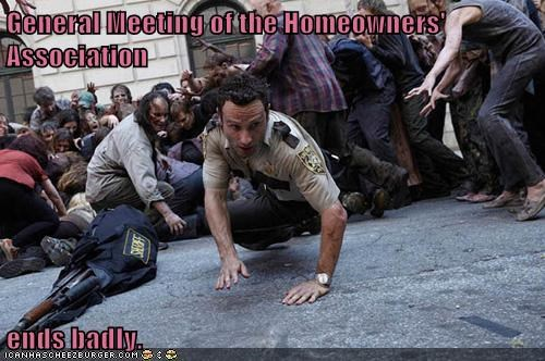 Andrew Lincoln homeowners association meeting Rick Grimes The Walking Dead zombie
