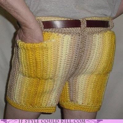 70s Crocheted nasty shorts ugly - 5685803520