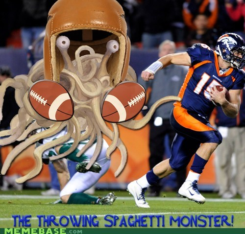 flying spaghetti monster football Memes tebow - 5686344960