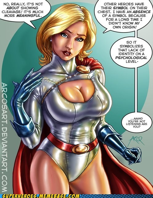 Awesome Art bewbs chest power girl superheroes symbol