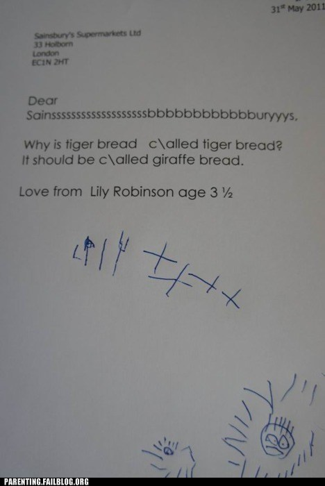 bread,giraffes,g rated,grocery store,Hall of Fame,parenting,sainsburys,tigers