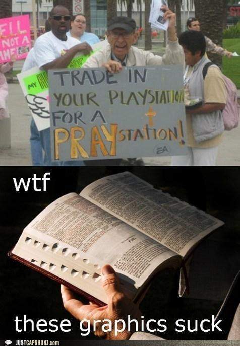 bible,no,no thanks,pray,praystation,religious,wtf