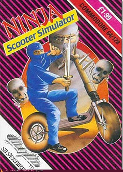 commodore 64,ninja,scooter,simulator,wtf