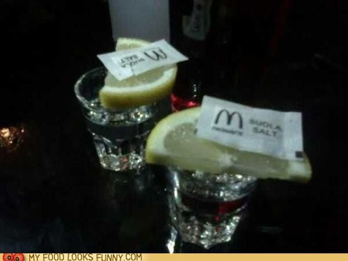 lemon,McDonald's,packets,salt,shots,super bowl,tequila