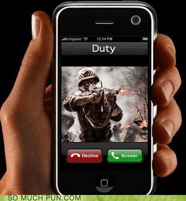 call,call of duty,contact,double meaning,duty,Hall of Fame,iphone,literalism,name