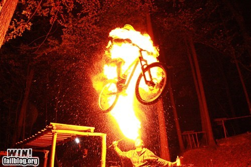 bike bmx fire breathing jump stunt