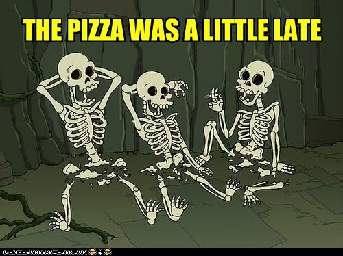 futurama,late,pizza,skeletons,snu snu