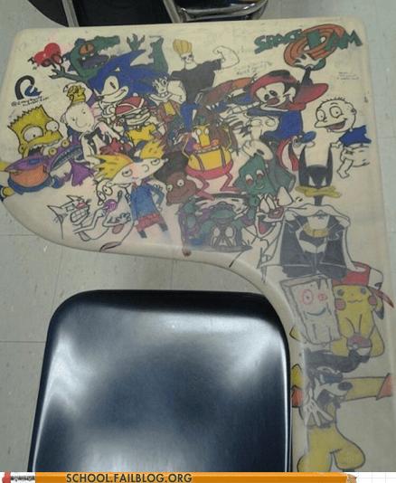 90s,art,classroom,desk,doodle