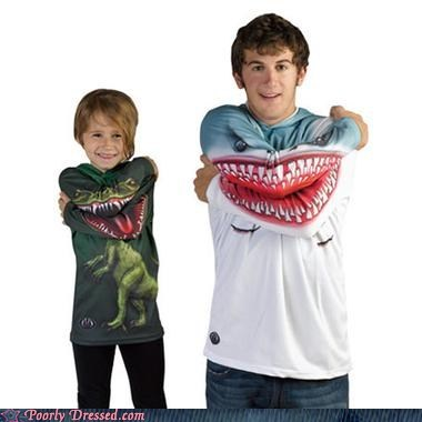 arm crossing dinosaurs sharks teeth shirts - 5689876736