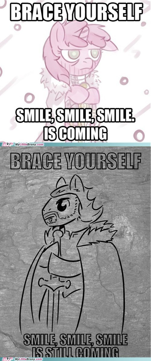 brace yourself meme ponify smile - 5692213248