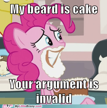 beard,best of week,cake,meme,pinkie pie,your argument is invalid