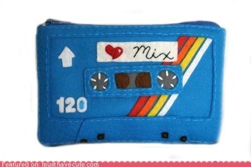 cassette felt mixtape pouch tape wallet zipper - 5693414656