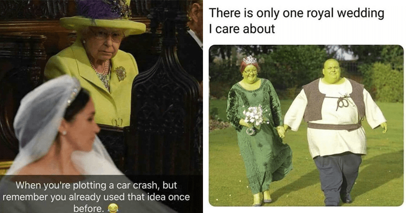 Funny memes and funny tweets, royal wedding, meghan markle, prince harry, england, queen of england, prince charles, george clooney, amal clooney, the simpsons, shrek, dank memes, funny royal wedding memes, royal wedding tweets, twitter reactions.
