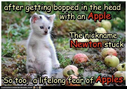 after getting bopped in the head The nickname So too, a lifelong fear of Newton stuck with an Apple Apples after getting bopped in the head with an Apple the nickname Newton stuck so too, a lifelong fear of Apples