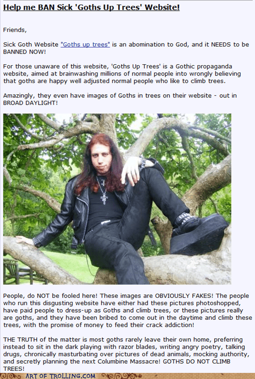 trolling meme about goths in trees