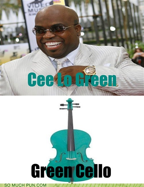 cee lo cee-lo green cello color green literalism name similar sounding surname