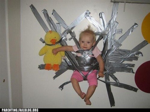 duct tape,kid on the wall,solves everything