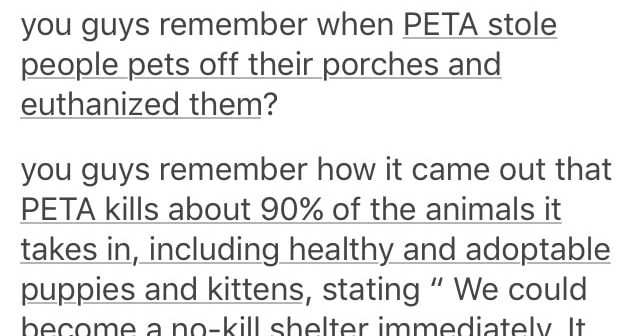 Tumblr thread about how PETA is bad, animal rights, no-kill shelters, pet euthanasia.