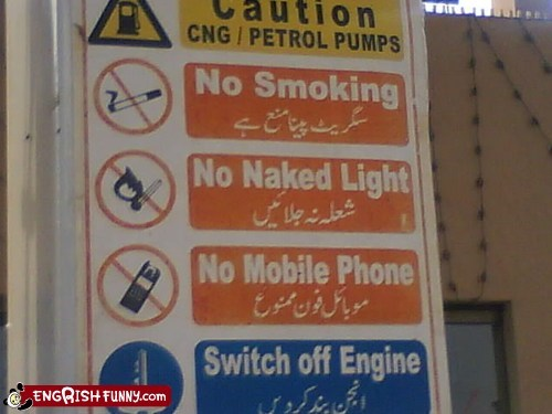 mobile phone no naked light warning sign fail Warning Sign Fails - 5696100352