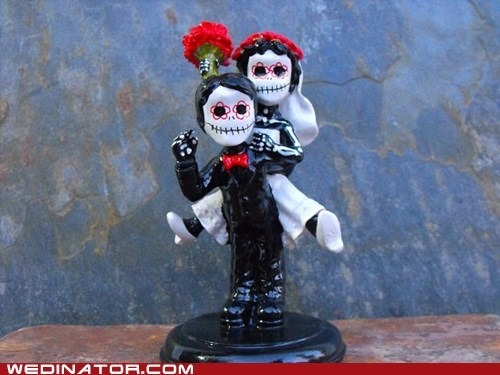 cake toppers,Day Of The Dead,funny wedding photos,skeletons