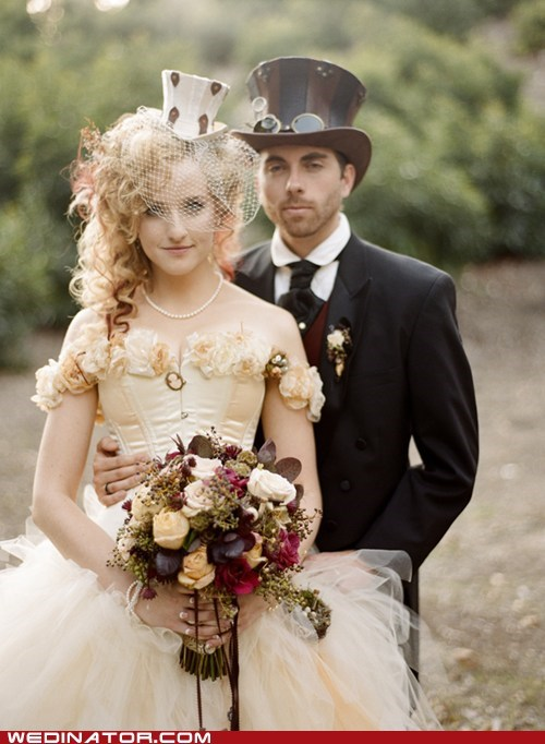 bride,funny wedding photos,groom,Hall of Fame,Steampunk