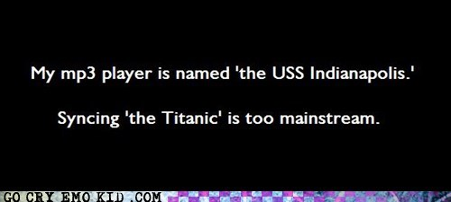 hipsterlulz ipod mp3 player sinking ship titanic - 5697622272
