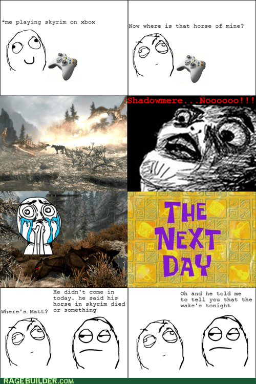 horse Rage Comics Sad shadowmere Skyrim - 5697764096