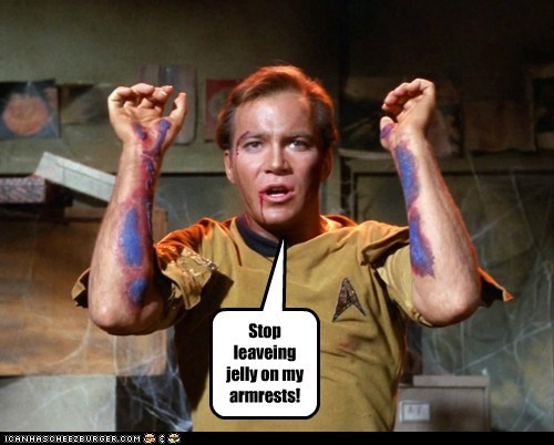 arms Captain Kirk jelly prank Shatnerday Star Trek stop traditional William Shatner