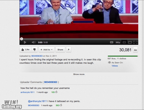 clever,response,tatto,user name,youtube,youtube comments