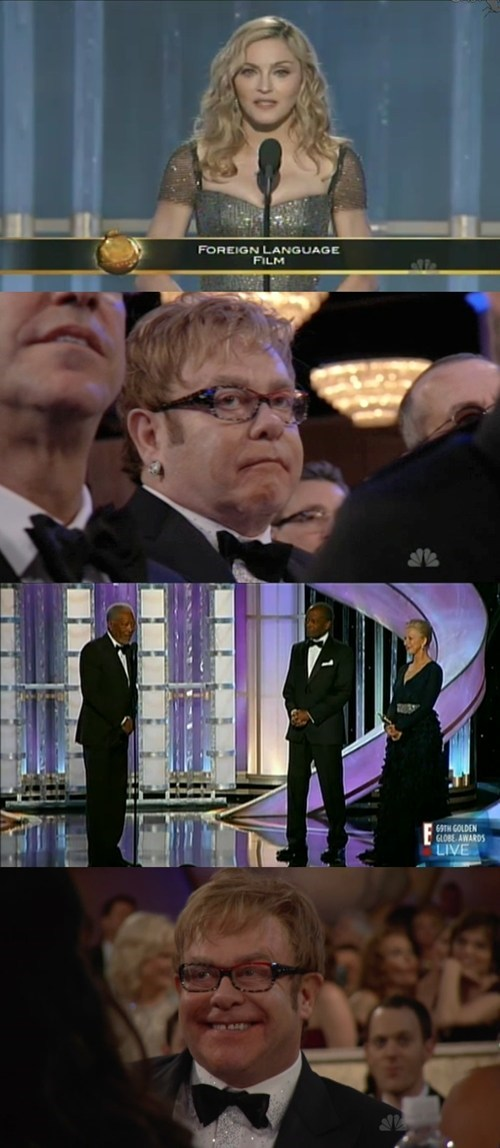 elton john golden globes Madonna Morgan Freeman