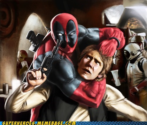 Awesome Art deadpool Han Solo shoot star wars - 5699363072