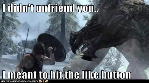 dovahkiin dragon facebook like button Skyrim unfriend
