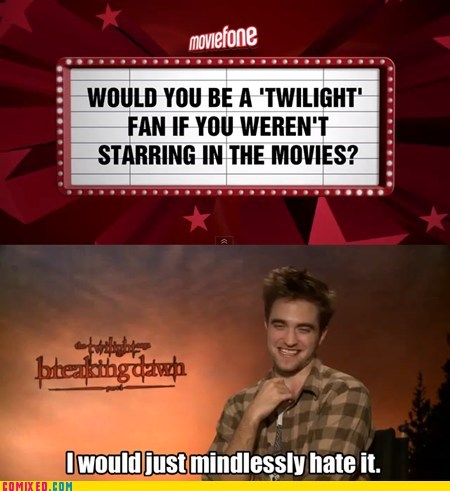 mindless hate,moviefone,robert pattinson,twilight