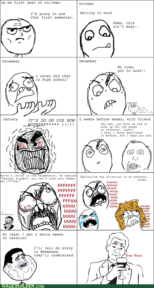 exams,FAIL,Rage Comics,truancy story